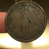 1837 Canada 1 Penny / 2 Sous Quebec Bank, Canadian Provinces, KM# Tn11, Scarce