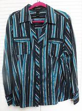 """Women's Plus Size 22 Blouse by """"Ashley Stewart,"""" Aqua, Navy, Gray, Silver"""