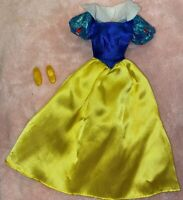 Disney Princess Barbie Doll Dress Gown Snow White Yellow Blue Dress With Shoes