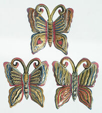 Set de 3 mariposas de metal decoracion de pared hechas a mano, los colores, 18cm