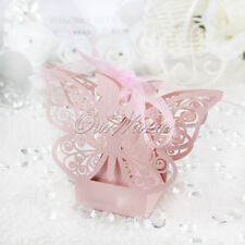 10×Pink Candy Box Butterfly Gift Cake Style Birthday Baby Shower Wedding Favor