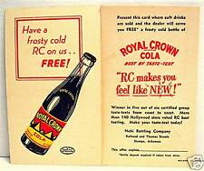 1940 Royal Crown Cola Soda Bottle Free Coupon Post Card