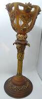"""Vintage Stemmed Candle Holder Votive Candle Ornate 9.5"""" Tall Gold"""