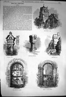 Original Old Antique Print 1870 York Holy Trinity Door Skipwith Selby Victorian