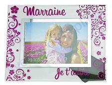 """Cadre photo """"Marraine Adorée"""" à poser horizontal en verre idée cadeau neuf"""