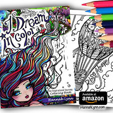 Fantasy Adult Coloring Book I Dream in Color Quotes Fairy Mermaid Hannah Lynn