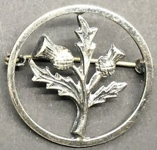 Scottish Round Open Work Cut Out Silver Thistle Brooch Celtic Kilt Hat Pin