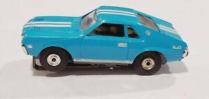 AURORA T-JET AMX BLUE HO SLOT CAR VERY NICE