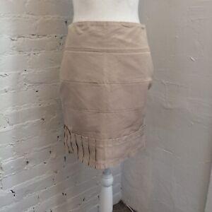 Reiss Pleated Zena Miniskirt Pleated Gold Tan size 2