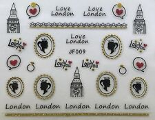 Nail Art 3D Decal Stickers Love London British UK Queen Love You Big Ben JF009