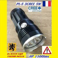 LAMPE TORCHE LED PL-53 3CREE HP 1500Lm 4V 5W 100m MULTIFONCTION ETANCHE ANTICHOC