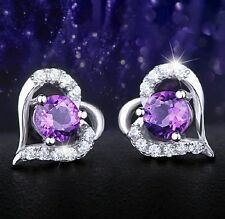 1.0 Cttw Heart Shaped Created Amethyst 925 Sterling Silver Stud Earrings Box I5
