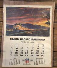 "Union Pacific Railroad 24"" by 18"" Centennial Calendar August 1969 Nice Shape!"