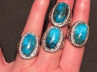 Genuine 10 CT Kingman Turquoise & White Zircon Silver Statement Ring Size 7