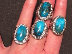 Genuine 10 CT Kingman Turquoise & White Zircon Silver Statement Ring Size 10