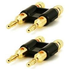 2 Pcs Dual Banana Plug Space Audio Speaker Wire Cable Connector Open Screw Gold