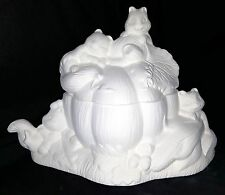 Dona 234-Autumn/Fall Squirrels Pumpkin Candy Dish-Ready to Paint Ceramic Bisque