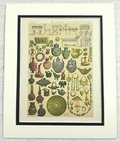 1895 Antique Print Ancient Greek Cypriot Jewellery Bronze Pottery Metalwork Art