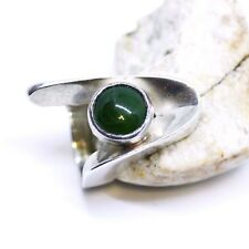 Heavy Chunky Natural BC British Columbia Jade Ring Sterling Silver Large Wide