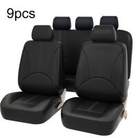 9Pcs Black Universal Car Seat Cover Leather Cushion 5 Seats Full Protects