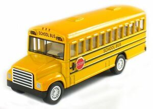 """New 5"""" Kinsfun School Bus DieCast Model Toy Pull Back Action w/ openable doors"""