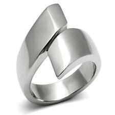 HCJ SILVER STAINLESS STEEL BYPASS DESIGNER WIDE BAND FASHION RING SIZE 6
