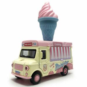 1:36 Ice Cream Truck Model Car Diecast Toy Vehicle Kids Gift Sound Light Pink