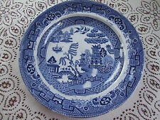 Antique Stone China Willow Pattern Plate. 21.5cm diam. Blue/White Transferware .