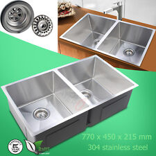 Stainless Steel Kitchen Sink Top/Under Mount Double Bowls Round Edge 770x450mm