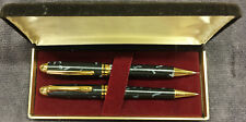 Vintage wooden working pen & pencil set with case