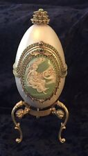 Decorated REAL Ostrich Egg Jewelry/Keepsake/Trinket Music Gift Box, Signed!
