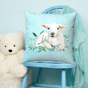 Baby Lamb Childrens Throw Pillow - Nursery Room - Kids Bedroom Decor - Gift
