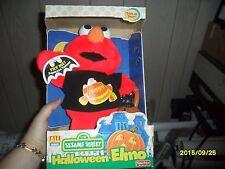2000 NIB Sesame Street Halloween Talking Elmo Plush Doll Black Cat Jack Lantern