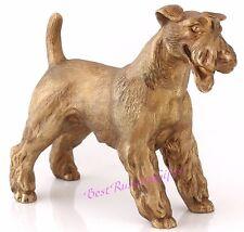 """Welsh Terrier Bronze Sculpture Russian Art Dog Figurine Animal Statue 4.7"""" Tall"""