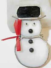 CUTE WINTER PIN BLACK WHITE STAINED GLASS SNOWMAN VINTAGE ARTSY UNIQUE HANDCRAFT