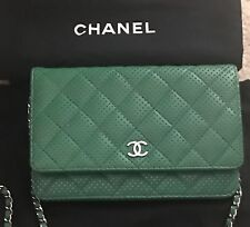 Chanel Green Perforated Quilted Lambskin Leather WOC Clutch Bag