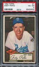 1952 TOPPS BASEBALL #1 ANDY PAFKO RED BACK PSA 4 VG-EX