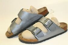 Birkenstock Germany Made Arizona Womens 6 37 Silver Leather Slides Sandals Shoes