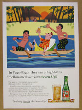 1960 Seven-Up 7up 7-Up 'In Pago-Pago' tropical island boat art vintage print Ad