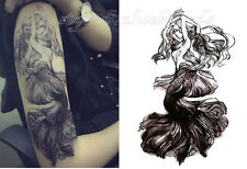 Detailed Mermaid Ocean Princess Fairy Fantasy Temporary Tattoo Waterproof