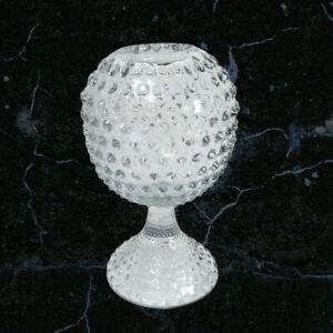 """Vintage Clear Glass Hobnail Globe Vase 6.5"""""""
