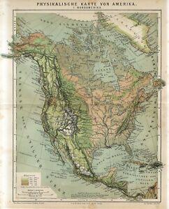 1882 NORTH AMERICA PHYSICAL MAP USA CANADA MEXICO ALASKA Antique Map