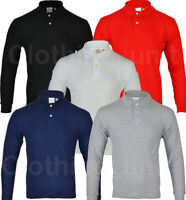 Mens Long Sleeve Plain Pique Polo Shirt Top Warm Work S M L XL XXL