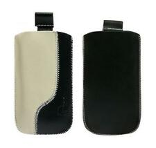 Housse Etui Cuir Noir et Beige (B) ~ Samsung i8000 Omnia 2 + Sony Ericsson Satio