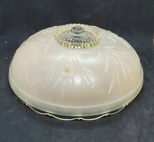 Vtg Pink Frosted Art Deco Ceiling Light Fixture Glass Shade Globe Cover Heavy