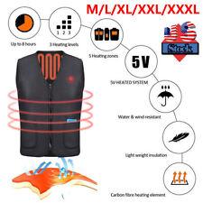 Electric USB Heated Warm Vest Women Men Heating Coat Jacket Clothing Skiing