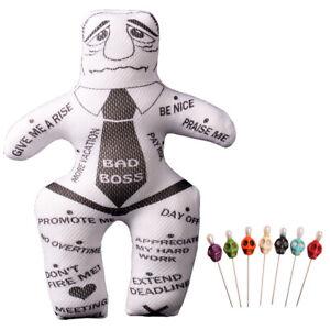 1pc Voodoo Doll Revenge Spell with 7 pcs Skull Pins Bad Boss Doll