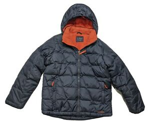 LL BEAN DOWN TEK Youth Big Boys Winter Jacket Ski Coat Hooded Puffer Large 14 16