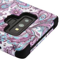 FOR SAMSUNG GALAXY NOTE 9 PURPLE FLOWER PAISLEY TUFF ARMOR 3-PIECE CASE COVER