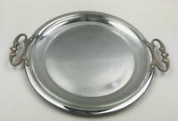 """Large Vintage Kromex-USA Round Serving Platter Tray 13 3/8"""" W/Pyrex Oven Plate"""